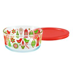 Simply Store® 4 Cup Ornaments Storage Dish w/ Red Lid