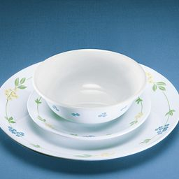 Secret Garden 18-piece Dinnerware Set showing dinnerplate, appetizer plate and cereal bowl