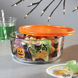 Fiendish Friends (cats & pumpkins) 7-cup Glass Food Storage Container on the table