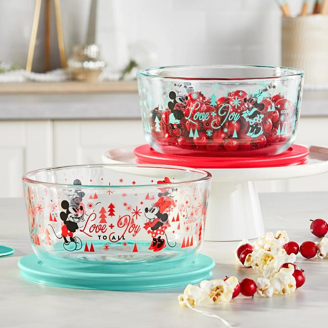 Mickey & Friends™ 4-piece Decorated Glass Storage Container Set, Holiday Edition