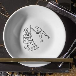 """Corelle 6.75"""" Appetizer Plate with Star Wars Luke Skywalker & Darth Vader on the table"""