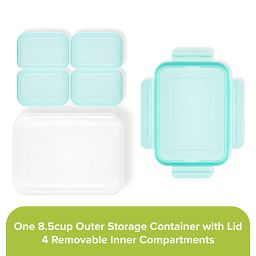 8.5-cup Meal Prep Divided Rectangle 4-section Storage Container with aqua lid showing individual pieces