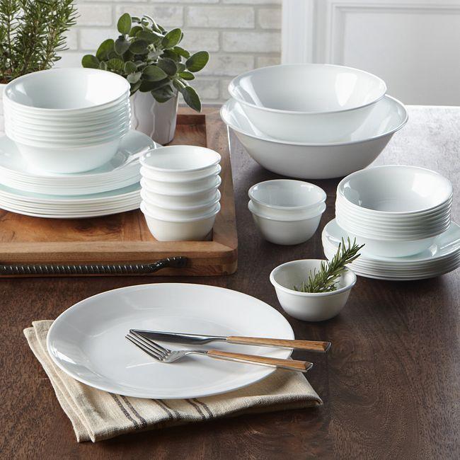 Winter Frost White 50 Piece Dinnerware Set Service For 8