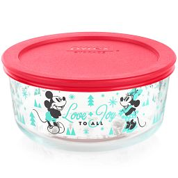 Mickey & Friends 4-cup Round Glass Storage Container, Holiday Edition with Red Lid