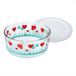 4 Cup Lucky in Love Storage Dish with White Lid Off