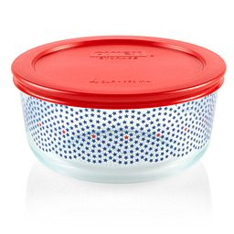 Simply Store 4 cup Stars Swirl Storage Dish with Red Lid