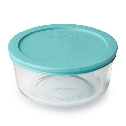 4-cup Glass Food Storage Container with Turquoise Lid