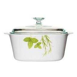 Stovetop™ Pyroceram® European Herbs 3L Casserole w/ Glass Cover side view
