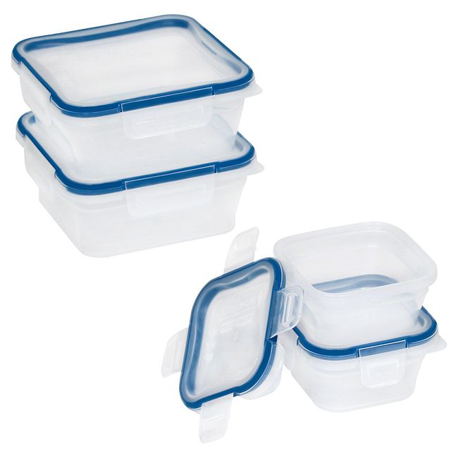Total Solution Plastic Food Storage 8-pc Square Set