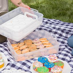 Snap 'N Stack® Enter-Tainers with cookies on picnic blanket
