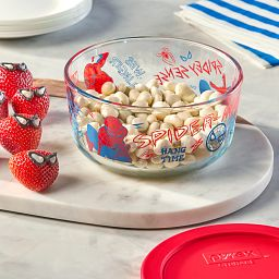 Marvel Spider-Man 4cup Glass Storage Container with food inside on the countertop with strawberries decorated like Spiderman