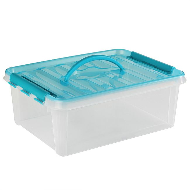 "Smart Store® 16"" x 6"" Home Storage Container w/ Turquoise Handles"
