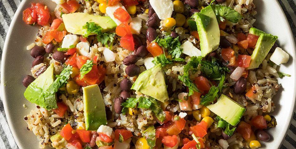 Easy Quinoa Burrito Bowl served in a white bowl
