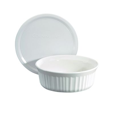 Corningware French White 24-Oz Round Baking Dish W/ Lid