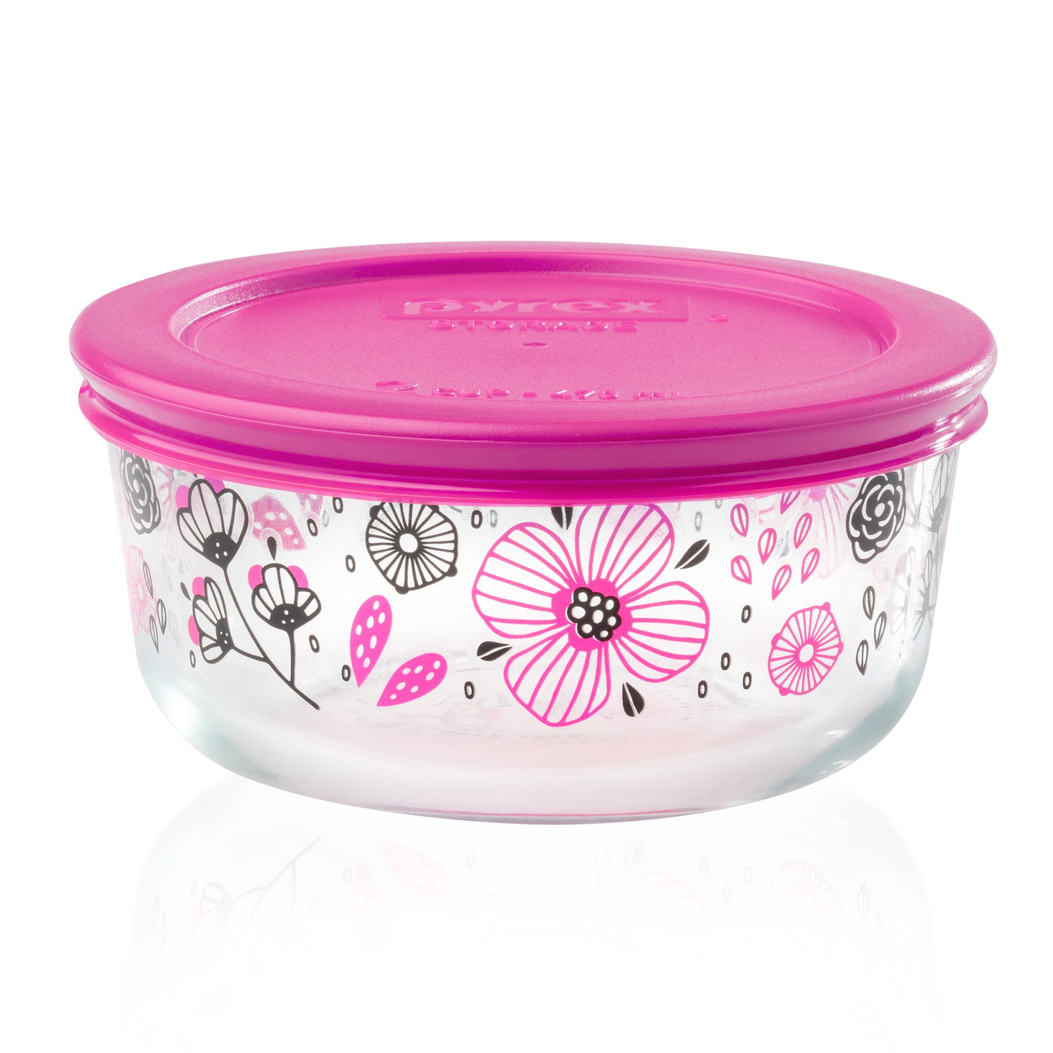 Ansa 2 Cup Glass Food Storage Container With Pink Lid