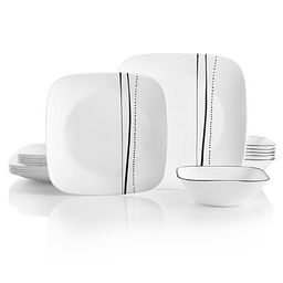 Square Cascading Lines 18-pc Dinnerware Set Front View