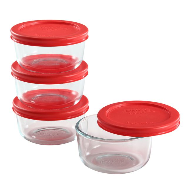 8-piece Glass Food Storage Container Set with Red Lids