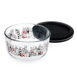 City Cat 4 Cup Round Storage Dish with Black Lid