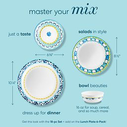 Photo that shows coordinating Boho Daydream dinnerware pieces