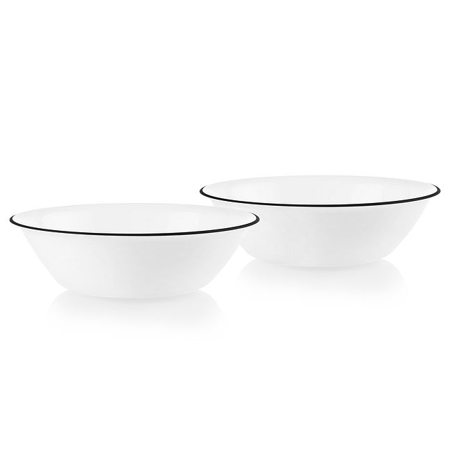Bold Black Banded 2-quart Serving Bowls, 2-pack
