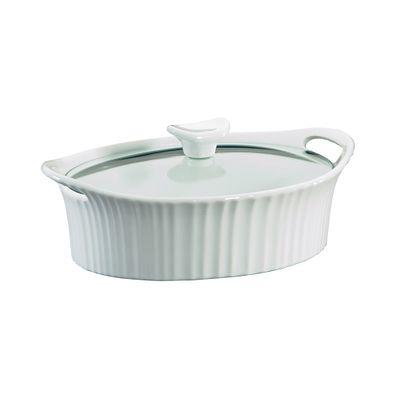 Corningware French White 1.5-Qt Oval Casserole W/ Glass Lid