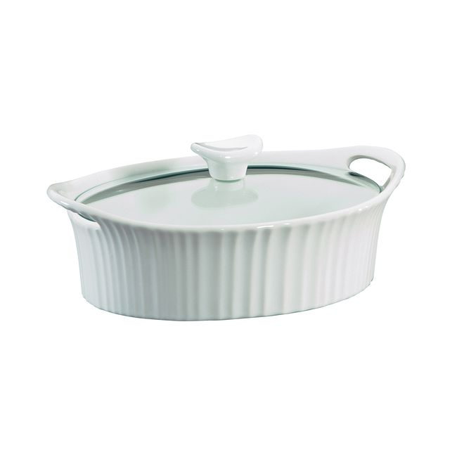 French White 1.5-qt Oval Casserole w/ Glass Lid