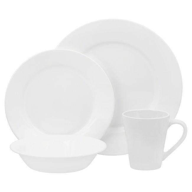 Shimmering White 16-piece Dinnerware Set, Set of 4
