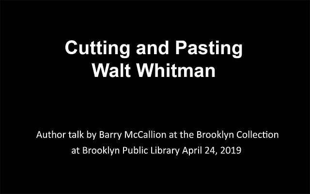 Cutting and pasting Walt Whitman: an author talk ...